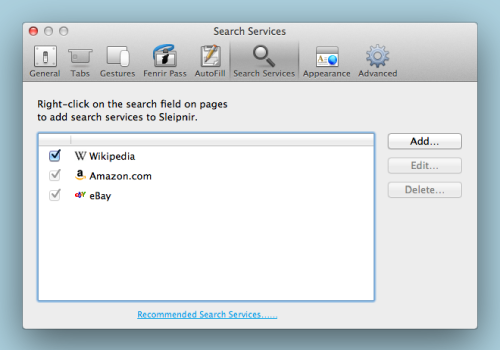 Search Services Preference